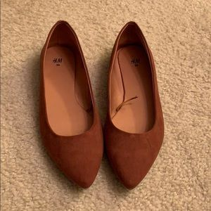 Brown slip on flats